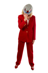 patriotic business woman hiding her face