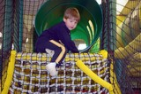 climbing a rope ladder poster