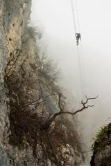 via ferrata in the fog