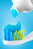 dental brush and tube with paste. poster