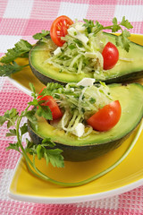 avocado with a vegetable stuffing
