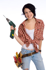 girl with drilling machine