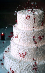beaded wedding cake with red  details