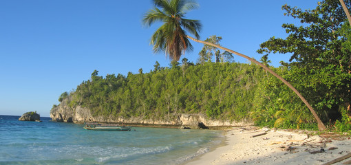 tropical beach, togians island, sulawesi, indonesia, panorama