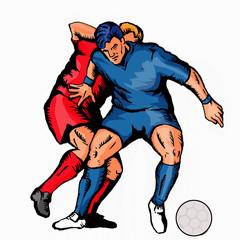 soccer 2 players tackling ball