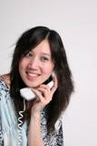 oriental woman on the phone poster