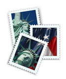 faux travel postage stamps