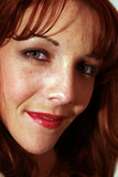 close up face of a redhead poster