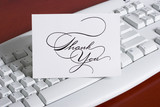 keyboard with thank you note card poster