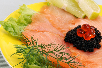 dish with salmon and fruits