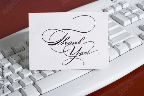 keyboard with thank you note card