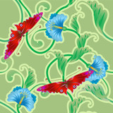 butterfly and flower oriental tileable seamless ba poster