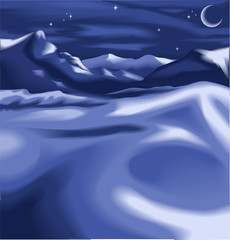 a snowy night time winter scene
