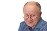 bald senior man laughing poster