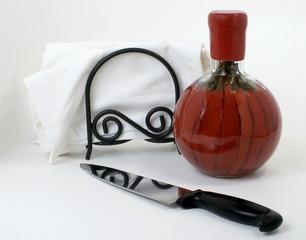 knife, red chilis, & cloth napkins