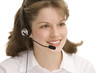 female receptionist with headphones, communicating