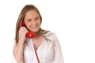 lovely brunette woman on telephone
