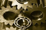 gear machinery in old brown tint poster
