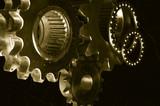 gears-mechanism against velvet poster