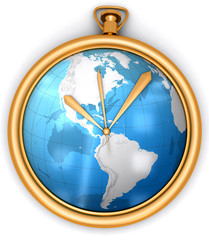 golden clock with global map