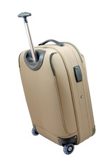 beige travel suitcase - isolated