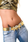 pierced belly ring. poster