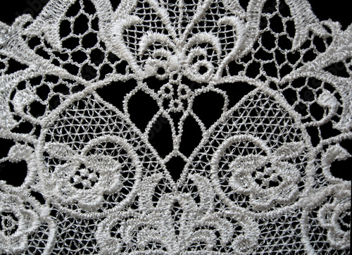 white lace on black