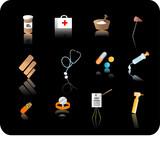 medical icon set poster