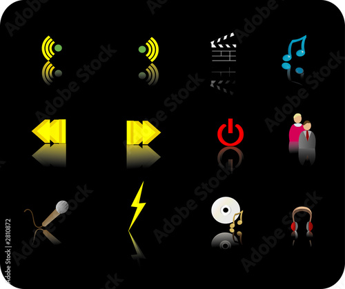 poster of color media icon set