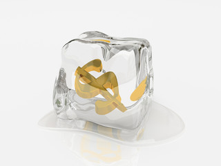dollar in ice cube 3d rendering