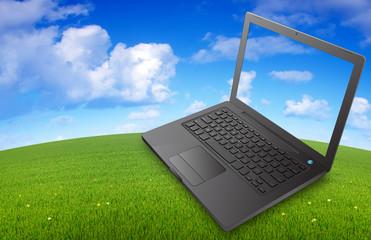 ordinateur portable sur prairie