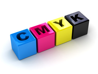 cmyk boxes in a horizontal