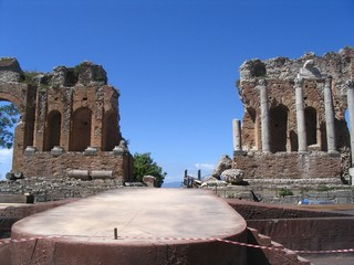 antique theatre, taormina, etna