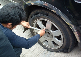 tyre blow-out