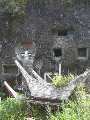toraja cemetary case with traditional house, rantepao, sulawesi