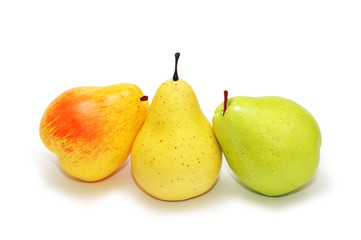 three pears isolated on the white background
