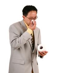 biz man blow his nose with napkin 2