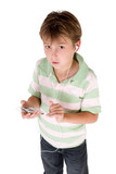 boy holding mp3 player poster