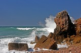 rocks and waves at the atlantic ocean poster