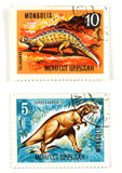 dinosaurs on old postage stamps poster