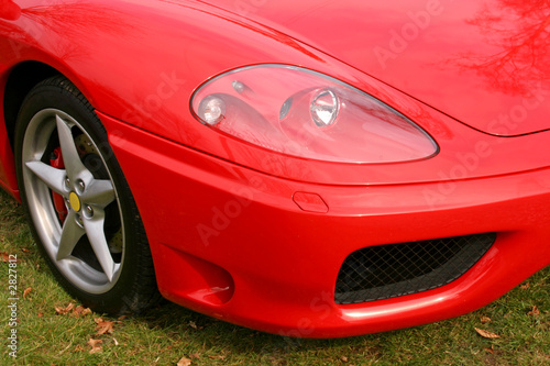 red supercar headlight