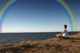 Fototapety meditation with rainbow
