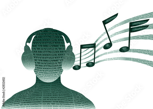 digital man with headphones listening to music
