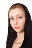 close-ups portrait beauty girl in black hood poster