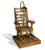 electric chair with skeleton poster