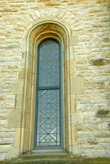 church antique leaded window