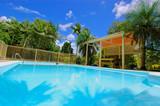 luxury backyard swimming pool poster
