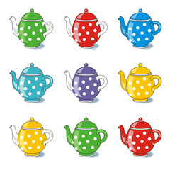 nine polka-dot colorful teapots isolated on white