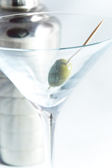 olive in martini glass