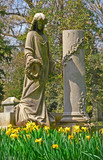memorial angel grave marker at historic spring grove cemetery in poster